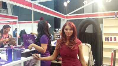 Amy Childs working hard on her stand